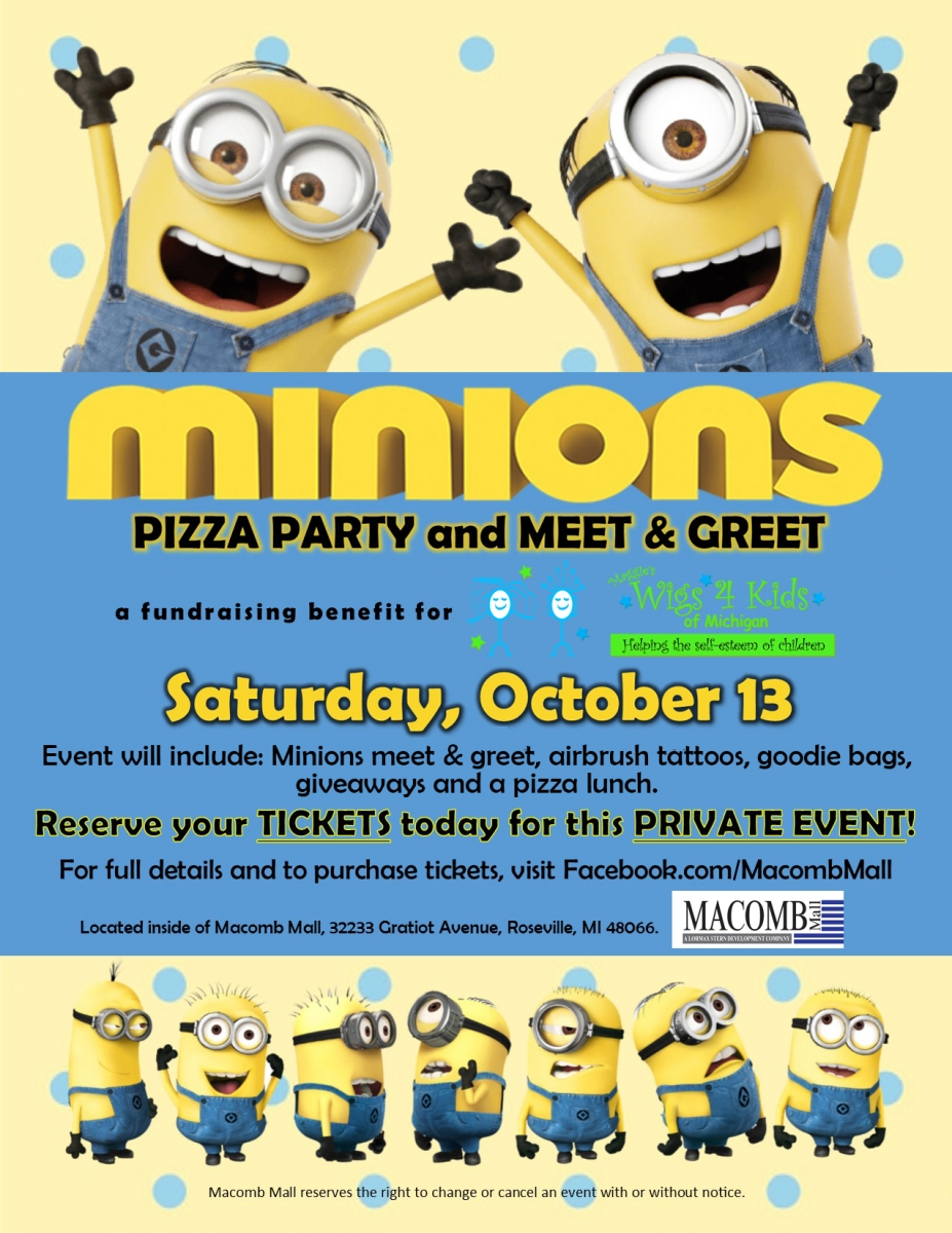 94f6712e4df01 Minions Party at Macomb Mall! - Wigs4Kids of Michigan - Blog and News