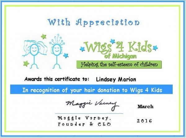 wigs 4 kids certificates of appreciation wigs4kids of michigan