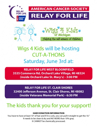 Wigs 4 Kids Hosting Cut A Thons At Relay For Life Events