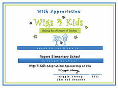 Adopt A Kid - Wigs4Kids of Michigan  - adopt-a-kid-certificate-of-appreciation