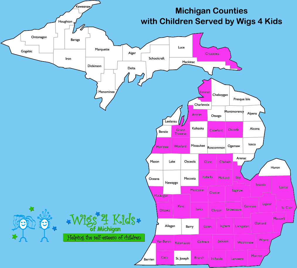 Wigs4Kids of Michigan - Statistics - michigan-counties-map