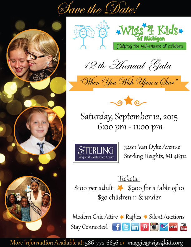 12th Annual Gala When You Wish Upon a Star - Wigs 4 Kids of Michigan Charity Events and Gala - 2015-Gala-Flyer-THEME