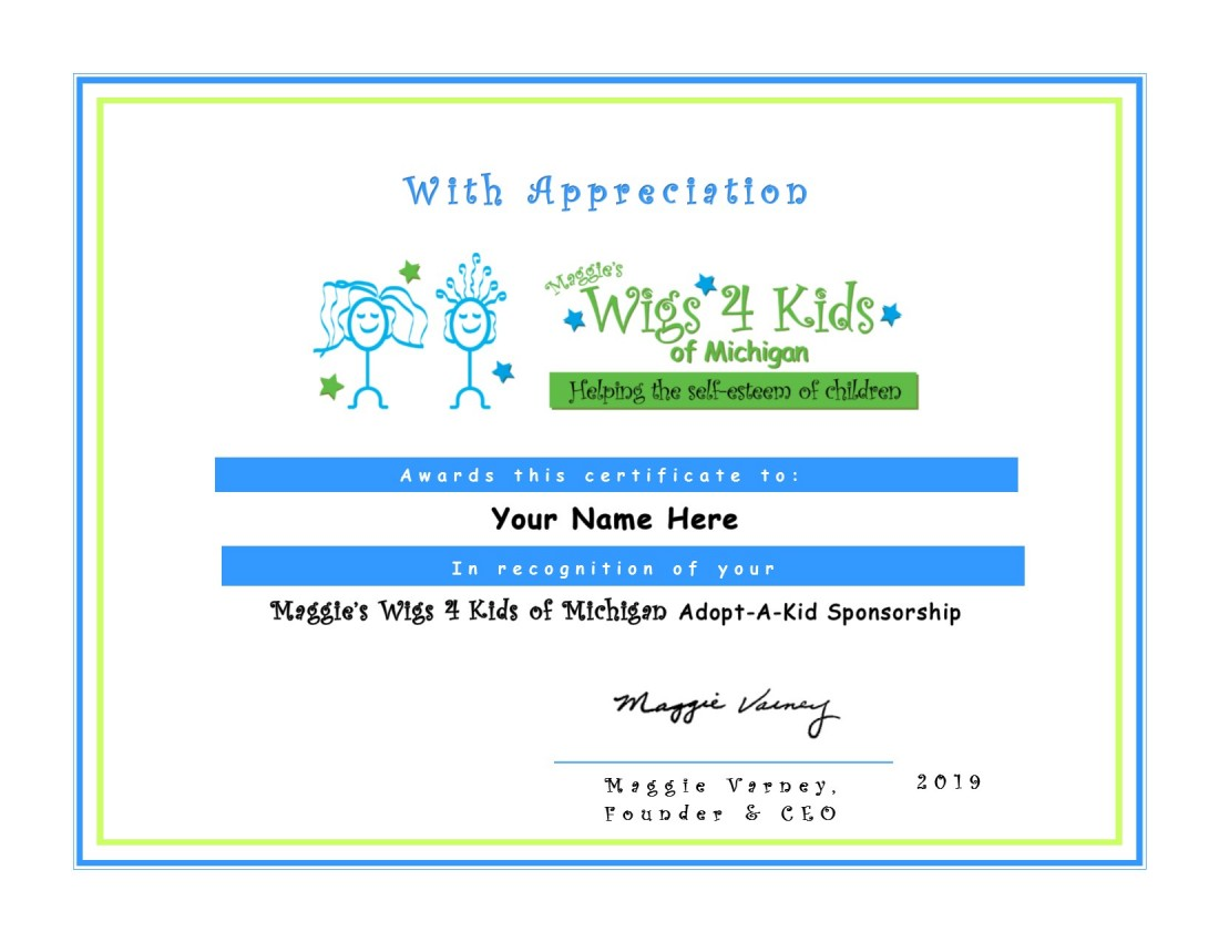 Adopt A Kid - Wigs4Kids of Michigan  - certificate_of_appreciation