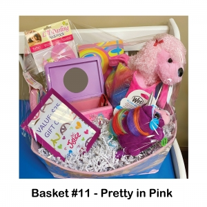 Plush Dog in Carrier,                          $25 Justice Gift Card,                                     Headbands,                                Dr. Seuss Notebook,                                     Small Pink Frame,                        Butterfly Jewelry Box