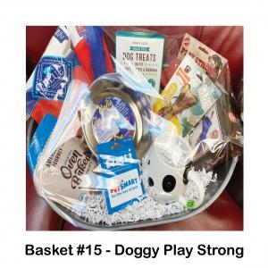 Dog Bowl,                     Treat Launcher,                                      Dog Coffee Mug,                                Play Strong Rubber Dog Toy,                                      American Journey Dog Treats,                          Blue Buffalo Health Bars,               Nylabone Chew Bone,                          Peatnut Butter & Banana Treats,               Kong Squeeze Toy
