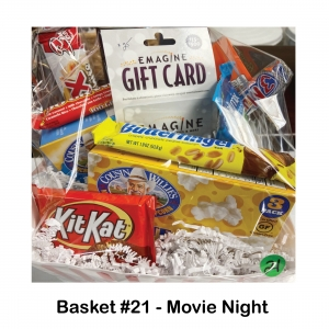 $25 Imagine Gift Card,          White Chocolate Twix,           100 Grand,           Butter Finger,          Kit Kat,                      2 Boxes of Popcorn,           Munchie Mix,                      Reese's Pieces