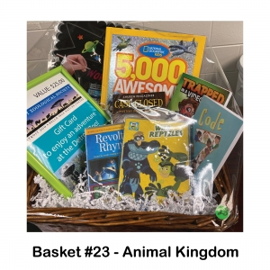 $25 Detroit Zoo Gift Card, DVDs: Revolting Rhymes,           Wild Reptiles,           Books: Code 7 Book,                      Case Closed,           Trapped In a Video Game,          5,000 Awesome Facts,                      Scratch off Shapes,                       Green Frame