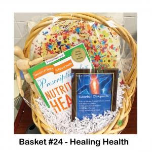 "$500 Suburban Chiropractic Gift Card,                      Decorative Pillow,                                                        ""Prescription for Nutritional Healing"" Book,                           Human Figurine"