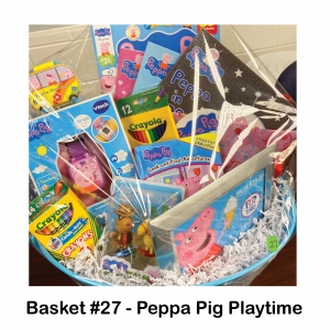 $25 Baskin Robbins Gift Card, Action Figures, Crayons, Colored Pencils, Watch, Peppa Pig Books, Peppa Pig Stickers, Tote, Mini CamperToy
