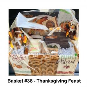 $25 Nino's Gift Card, 2 Glass Votives w/Candles, 2 Turkey Lifters, 2 Wine Glasses & Wine, Grateful Sign, Modern Farmhouse Bowls, Plate, Thanksgiving Napkins,  Towel, Turkeys