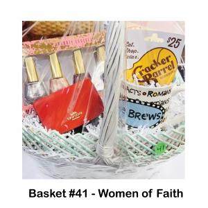 "$25 Cracker Barrel Gift Card, 5pc Metallic Nail Polish Set, ""He Brews"" Mug, Small Red Coach Wallet, Women of Faith Book"