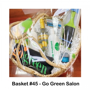 $10 Gift Card to Dimitre's, 9 Chances to Feel Good Book, Fruit Shampoo & Conditioner, Go Green Salon T-shirt, Green Square Wet Brush, Lancome Sunscreen, Pineapple Charm Bracelet