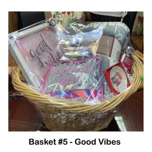 Vera Bradley Ceramic Dish,  Chanasya Soft Luxurious Blanket, Good Vibes Plaque,           Cherry Blossom Shower Gel,            Adventure Awaits Pouch,             Paparazzi Necklace and Earring Set