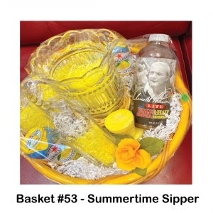 1 Can of Arnold Palmer, 2 Cans of SanPellegrino, 2 Yellow Votive Candles, 4 Drinking Glasses, Crystal Pitcher