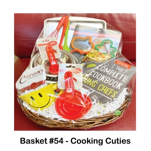 Caruso's Coffee Roasters, Cookie Cutters & Sheet, Measuring Cups & Spoons, Mixing Bowls & Spoons, Smiley Face Mug, Whisk, Young Chefs Cookbook