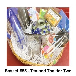 $25 Sy Thai Gift Card, Be Nice or Else Book, Cold Tea Maker, Green & Blue Vase, Organic Green & White Tea, Storage Container for Tea, Tall Black Travel Mug