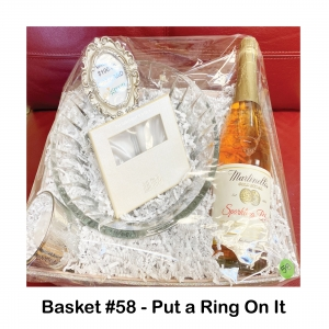 $100 Go Green Salon Gift Card, Martinelli's Spring Wine, Oleg Cassini Ring Holder, Small Votive Candle Holder, Votive Candle, Waterford Rainfall Bowl
