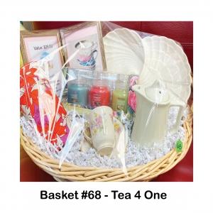 $25 Pink House Tea Gift Card, Burton & Burton Candy Dish, Loose Tea Container with Tea, Small Tea Pot, Teacup and Saucer, Yankee Candle Trio