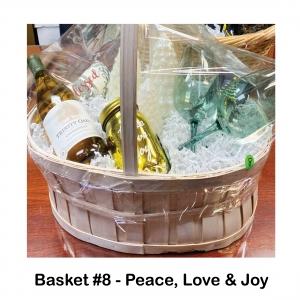 Peace, Love & Joy Jar, Wine Trinity Oaks, Chardonnay, 2 Wine Glasses,                        Christmas Tree Candles,                      Christmas Bling Spreader,            Blessed Towel
