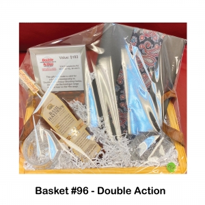 $193 Double Action Gift Card (6-month membership 1 hour on the handgun range 1 hour on the rifle range), 2 Crystal Rock Glasses, Basil Haydron Whiskey, Silk Tie