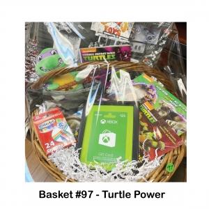 $25 XBOX Gift Card, Camouflage Backpack, Crayons, Ninja Turtle Action Figures, Ninja Turtle Book Friend/Foe, Ninja Turtle Donatello, Ninja Turtle Mutant Guide, Ninja Turtle Posters Book