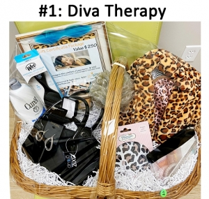 Beauty items, jewelry, massage gift card, makeup lesson & application, manicure & pedicure.  Value: $462.00