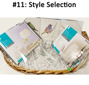 Style selections table lamp, Style selections rice paper shade lamp, Swirl design 7 piece ice bucket set, 3 piece bird wall art  Total Basket Value: $110.00