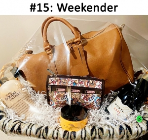 Large Cognac-colored Weekend Bag, LeSportSac Makeup Pouch, Tosti Champagne, Orange Cocoa & Cream Shampoo/Shower Gel & Body Souffle, Weave Blanket Wrap  Total Basket Value: $163.00