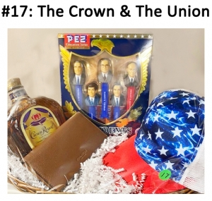 Crown Royal Whiskey,l Coach Brown Wallet, President Pez Set, Patriotic Baseball Cap.  Total Basket Value: $188.00