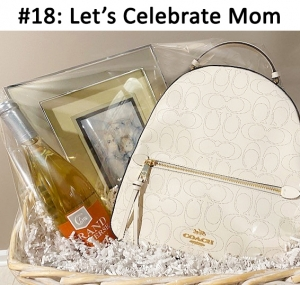 Coach White Backpack,  Grand Traverse Riesling Wine, Family Trio Angel Art  Total Basket Value: $463.00