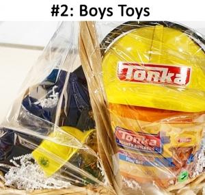 Tonka hard hat bucket with building blocks, Wally's Gift Card, Toddler U of M Jean Jacket.  Total Basket Value: $60.00