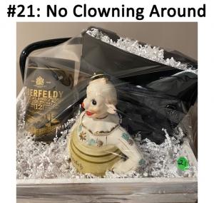 Clown Ceramic Figurine, Coach Black Purse, Aberfeldy 12 Year Single Malt Scotch Whiskey  Total Basket Value: $442.00