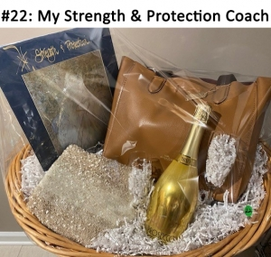 Coach Tan Tote Bag,  Strength & Protection Large Angel Art, Circle Knitted Metallic Scarf, Prosecco Brut Champagne, 2 Champagne Glasses  Total Basket Value: $408.00