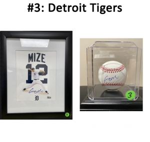 Autographed Casey Mize framed photo and baseball in case.   Total Basket Value: $280.00