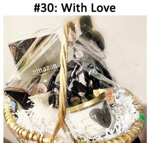 Prosecco Champagne, With Love Candle, Lenox Bud Vase - Medium Cream, Black and White Scarf, Anne Klein Wristlet, Black & White Copper Bracelet - Art Deco, Amazon Gift Card  Total Basket Value: $142.00