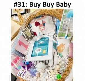 Standard Crib Sheet, Baby Blanket, Bottle Brush, Baby Bottle, Pacifiers Sleeper,  Buy Buy Baby Gift Card, Precious Moments Train Set, Baby Wipes, 1 year old Mug  Total Basket Value: $208.00