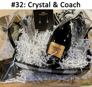 Prosecco Champagne,  Crystal Bud Vase, Crystal Glass, Crystal Bowl, Coach Necklace, Coach Earrings Coach Scarf, With Love Candle  Total Basket Value: $320.00