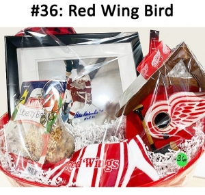 Red/Black Blanket, Red Wings Bird House/Feeder,  Kaytee Liberty Bell Treat, Bird Seed, Red Wings - Medium Size Socks, Autographed Photo (Lindsay, Ciccarelli & Delvecchio), Detroit Red Wings bangle  Total Basket Value: $176.00