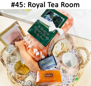 3-piece Peach Luncheon Set, Peach Blanket, A Year of Themed Teas Book, Cream Bud Vase, Angel Charm Necklace, Celestial Herbal Tea - Peach Passion, XOXO Candle, Peach Scarf, Soothing Waters Spa Bath Bomb, Blessing Magnet, Royal Tea Room Gift Card, Gold Chain Necklace  Total Basket Value: $198.00