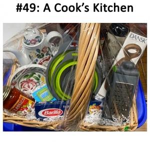 Assorted cooking supplies, pasta & sauce, recipe cookbook, wine, serving pot & appetizer plates.   Total Basket Value: $275.00