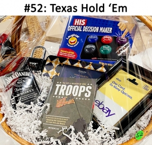 Sterling Goods Texas Hold 'Em Poker game, Vault Lock Troops Book, EBay Gift Card, Jack Daniels Whiskey, His Decision Maker Game  Total Basket Value: $140.00