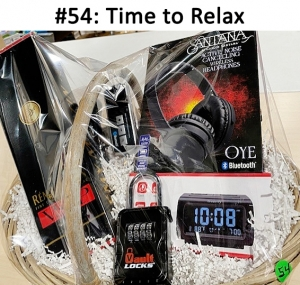 DreamSky Decent Alarm Clock Radio with FM, Remy Martin VSOP Cognac,  Wireless Vault Lock,  Bluetooth OYE by Santana Noise Cancelling headphones,  Bluetooth multipoint speakerphone  Total Basket Value: $228.00