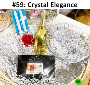 Large crystal vase, Viviano gift card, crystal candle holders with 2 taper candles, large crystal bowl, champagne  Total Basket Value: $280.00