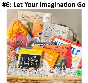 Books: The Best School Year Ever Book, Talented Clementine, Mansion Mystery,  Captain Underpants, Will and Orv, Mistake that Worked, The Dragon-sitter's Castle,  Dinosaur Toy Family Under the Bridge, Lives of the Scientists, Troll stuffed Toy,  Juicy Fruit Gum  Total Basket Value: $112.00