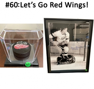Red Wings Puck Signed By Dylan Larkin and a signed Ted Lindsay Hockey Hall of Fame '66 Framed Photo  Total Basket Value: $148.00