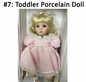 Beautiful porcelain toddler doll designed by the Marie Osmond collection.  Total Basket Value: $100.00