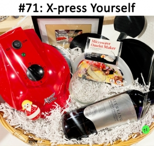 X-Press Grill, Sterling Cabernet Sauvignon Wine, Micro Omelet Maker, Utensil Cradle, Ceramic Knife Spreader, Wine Glass, Village Market Gift Card  Total Basket Value: $156.00