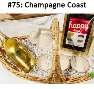 Prosecco Champagne, Serving Platter & Dishes Sea Shell, Happy Dining Gift Card  Total Basket Value: $85.00