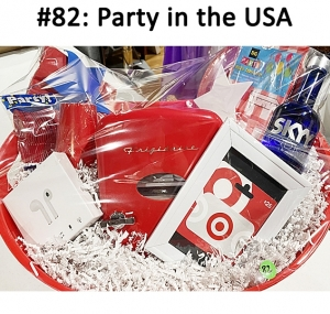 Wireless Earbuds, Target Gift Card, Frigidaire Retro Mini Beverage Fridge. Plates, Napkins, Plastic Dinnerware, Cups, Tablecloth, Skyy Vodka  Total Basket Value: $128.00