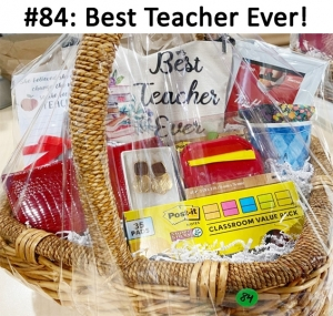 Teacher Key Chain Clutch Bag, Tim Hortons Gift Card, Note Pad & Pen, Chanel Wallet, Apple Post it Dispenser, 35 School Bus Post it Note Pads, Coffee Mug, Head wrap, Gold & Red Chico's Earrings  Total Basket Value: $328.00